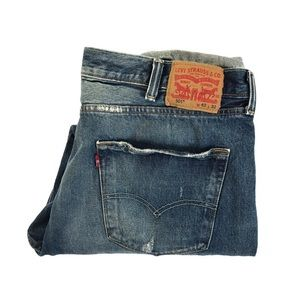 Button Fly Denim Jeans Distressed Levi's